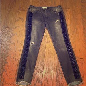 Sequined stripe black distressed jean